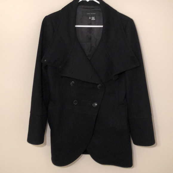 52895ac2 Zara Jackets & Coats | Black Wool Coat With Shawl Collar | Poshmark